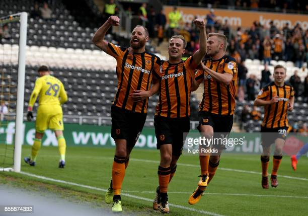 David Meyler of Hull City celebrates scoring a penalty during the Sky Bet Championship match between Hull City and Birmingham City at KCOM Stadium on...