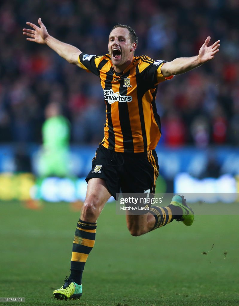 David Meyler of Hull City celebrates scoring his team's second goal during the Barclays Premier League match between Hull City and Liverpool at KC Stadium on December 1, 2013 in Hull, England.