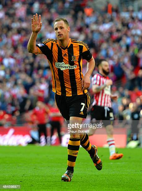 David Meyler of Hull City celebrates scoring their fifth goal during the FA Cup with Budweiser semifinal match between Hull City and Sheffield United...