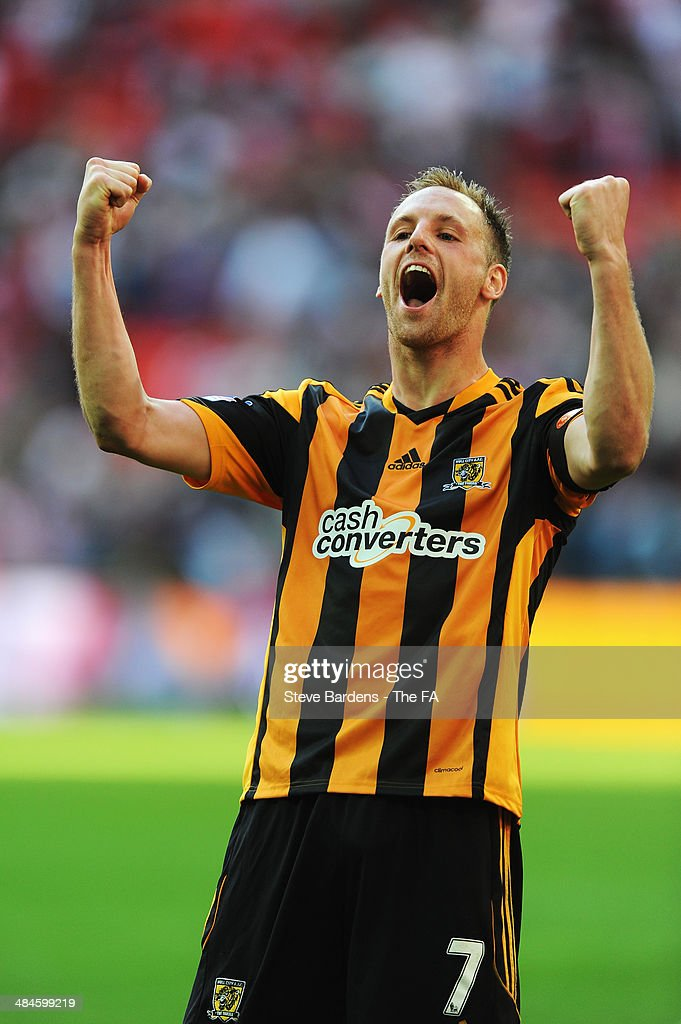 <a gi-track='captionPersonalityLinkClicked' href=/galleries/search?phrase=David+Meyler&family=editorial&specificpeople=5472116 ng-click='$event.stopPropagation()'>David Meyler</a> of Hull City celebrates their victory after the FA Cup Semi-Final match between Hull City and Sheffield United at Wembley Stadium on April 13, 2014 in London, England.