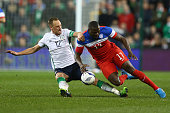 David Meyler of Ireland tackles Jozy Altidore of USA during the International Friendly match between the Republic of Ireland and USA at the Aviva...