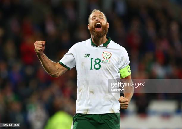 David Meyler of Republic of Ireland celebrates during World Cup Qualifying European Group D match between Wales against Republic of Ireland at...