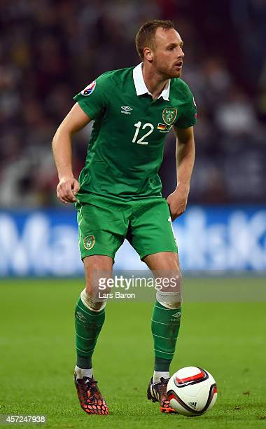 David Meyler of Republic of Ireland runs with the ball during the EURO 2016 Group D qualifying match between Germany and Republic of Ireland on...