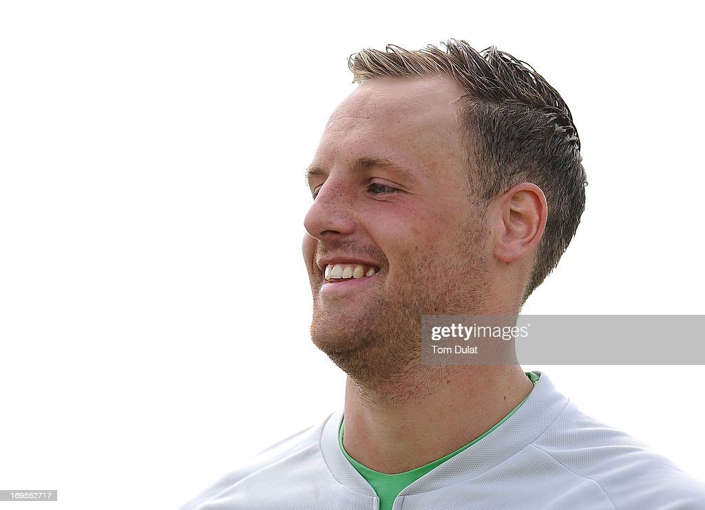 David Meyler of the Republic of Ireland smiles during the Ireland training session at Watford FC Training Ground on May 27, 2013 in London Colney, England.