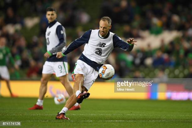 David Meyler of the Republic of Ireland warms up prior to the FIFA 2018 World Cup Qualifier PlayOff Second Leg between Republic of Ireland and...
