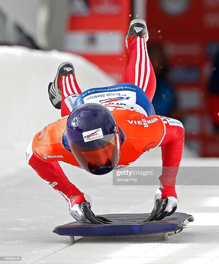David Michael Swift of Great Britain competes in the FIBT Men's Skeleton World Cup heat 1 on November 17, 2012 at Utah Olympic Park in Park City, Utah.
