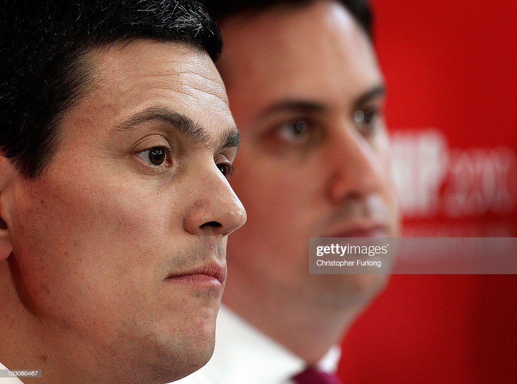 <a gi-track='captionPersonalityLinkClicked' href=/galleries/search?phrase=David+Miliband&family=editorial&specificpeople=206702 ng-click='$event.stopPropagation()'>David Miliband</a> (L) and his brother <a gi-track='captionPersonalityLinkClicked' href=/galleries/search?phrase=Ed+Miliband&family=editorial&specificpeople=4376337 ng-click='$event.stopPropagation()'>Ed Miliband</a> address party members during the Yorkshire and Humber Labour hustings at Leeds University on July 25, 2010 in Leeds, England. The battle for the leadership of Labour has intensified as <a gi-track='captionPersonalityLinkClicked' href=/galleries/search?phrase=Ed+Miliband&family=editorial&specificpeople=4376337 ng-click='$event.stopPropagation()'>Ed Miliband</a> gains the support of Unite alongside Unison and the GMB unions in his battle against <a gi-track='captionPersonalityLinkClicked' href=/galleries/search?phrase=David+Miliband&family=editorial&specificpeople=206702 ng-click='$event.stopPropagation()'>David Miliband</a>, Ed Balls, Diane Abbott and Andy Burnham to become the next leader of the Labour Party.