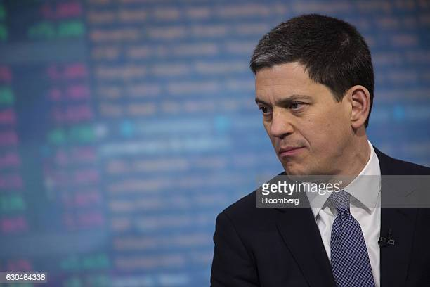 David Miliband president and chief executive officer of International Rescue Committee Inc listens during a Bloomberg Television in New York US on...