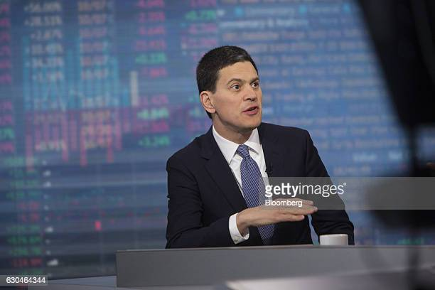 David Miliband president and chief executive officer of International Rescue Committee Inc speaks during a Bloomberg Television in New York US on...
