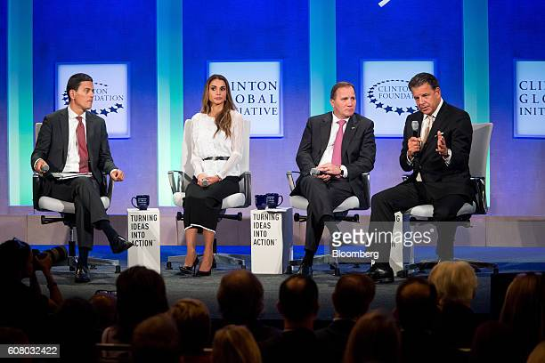 David Miliband president and chief executive officer of the International Rescue Committee from left Rania AlAbdullah Queen of Jordan Stefan Loefven...