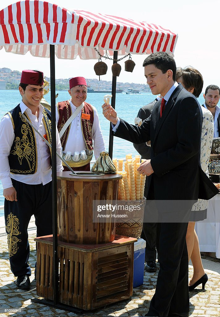 David Miliband (R), Secretary of State for Foreign and Commonwealth Affairs, takes an ice-cream during the Queen's State Visit to Turkey on May 15, 2008 in Istanbul, Turkey. Queen Elizabeth II and Prince Philip, Duke of Edinburgh are in Ankara for a four day state visit to Turkey, the Queen's first visit to Turkey for 37 years.