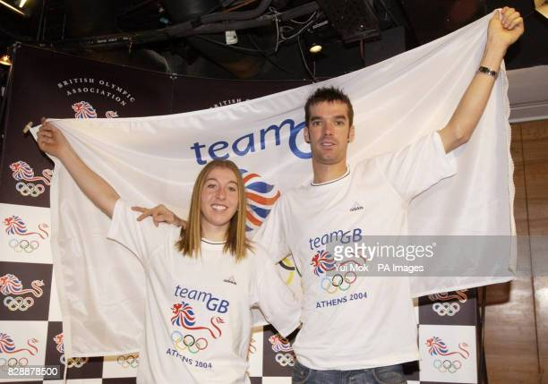 David Millar and Nicole Cooke at a press conference to announce their selection by the British Olympic Association for Team GB Athens 2004 at FA...