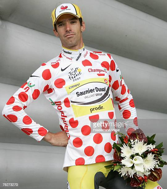 David Millar of Great Britain and Saunier Duval celebrates the redandwhite polka dotted jersey of best climber after the Stage One of the Tour de...
