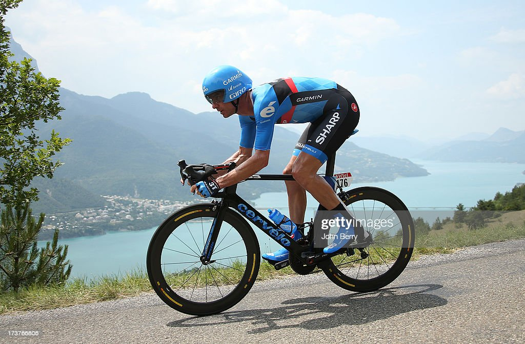 David Millar of Great Britain and Team Garmin-Sharp rides during stage seventeen of the 2013 Tour de France, a 32KM Individual Time Trial from Embrun to Chorges, on July 17, 2013 in Chorges, France.