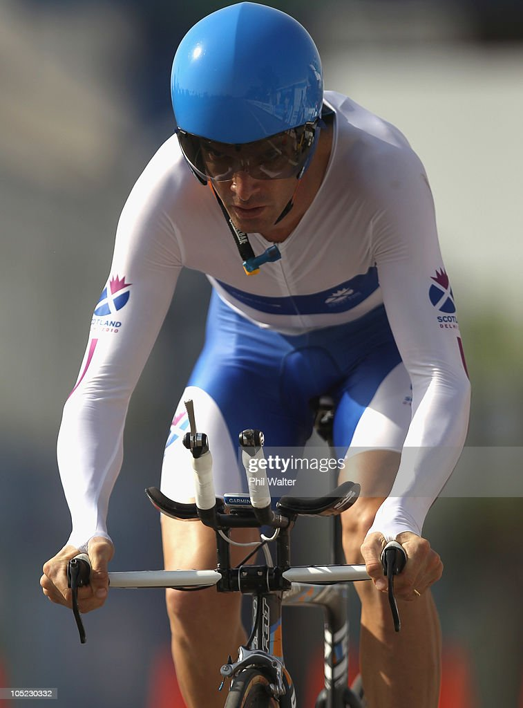 <a gi-track='captionPersonalityLinkClicked' href=/galleries/search?phrase=David+Millar+-+Cyclist&family=editorial&specificpeople=4394499 ng-click='$event.stopPropagation()'>David Millar</a> of Scotland competes in the Mens Individual Time Trial during day ten of the Delhi 2010 Commonwealth Games on October 13, 2010 in Delhi, India.