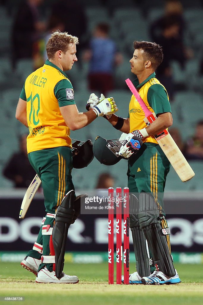 David Miller and Jean-Paul Duminy of South Africa celebrate after hitting the winning runs during game one of the International Twenty20 Series between Australia and South Africa at Adelaide Oval on November 5, 2014 in Adelaide, Australia.