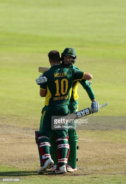David Miller and Wayne Parnell during the 2nd ODI between South Africa and Sri Lanka at Sahara Stadium Kingsmead on February 01 2017 in Durban South...