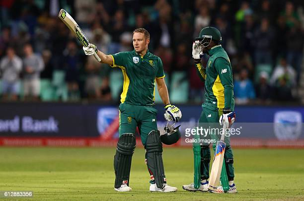 David Miller celebrates his 100 runs during the 3rd Momentum ODI Series match between South Africa and Australia at Sahara Stadium Kingsmead on...