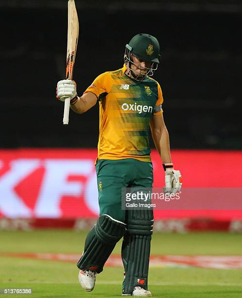 David Miller gets his 50 during the 1st KFC T20 International match between South Africa and Australia at Sahara Stadium Kingsmead on March 04 2016...