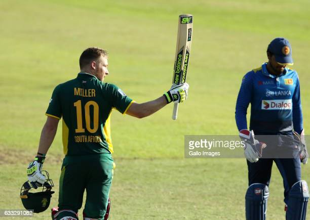 David Miller gets his century during the 2nd ODI between South Africa and Sri Lanka at Sahara Stadium Kingsmead on February 01 2017 in Durban South...