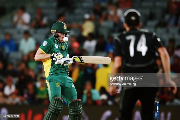 David Miller of South Africa bats during game five of the One Day International series between New Zealand and South Africa at Eden Park on March 4...