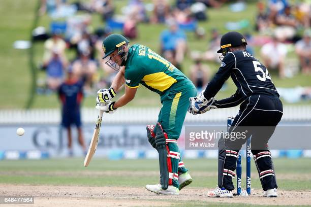 David Miller of South Africa bats during game four of the One Day International series between New Zealand and South Africa at on March 1 2017 in...
