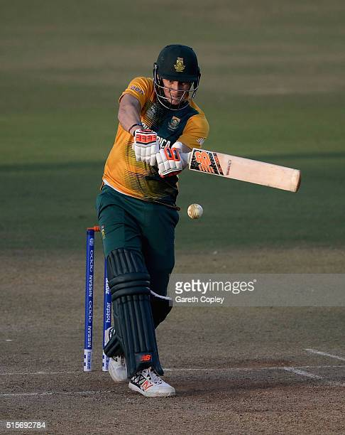 David Miller of South Africa bats during the ICC Twenty20 World Cup Warm Up match between Mumbai Cricket Association XI and South Africa at Brabourne...