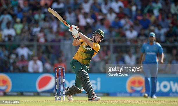 David Miller of South Africa bats during the ICC World Twenty20 India 2016 Super 10s Group 1 match between South Africa and Afghanistan at Wankhede...