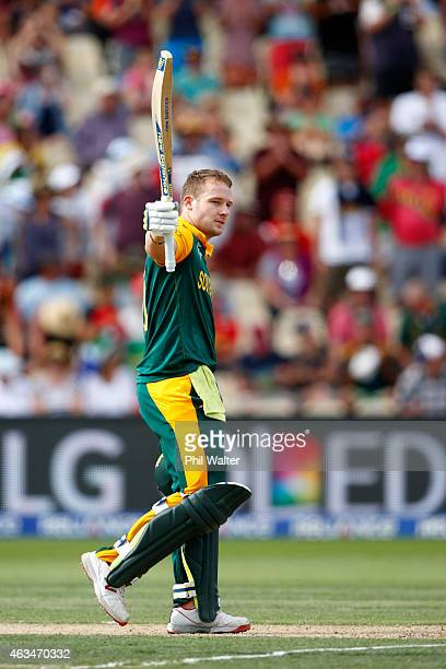 ZEALAND FEBRUARY David Miller of South Africa celebrates his century during the 2015 ICC Cricket World Cup match between South Africa and Zimbabwe at...
