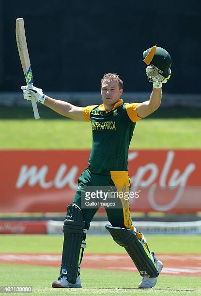 David Miller of South Africa celebrates his century during the 4th Momentum ODI between South Africa and West Indies at St Georges Park on January 25...