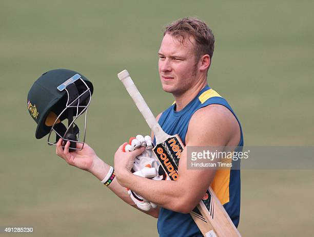 David Miller of South Africa during the training session before the 2nd T20 match against India at Barabati Stadium on October 4 2015 in Cuttack India