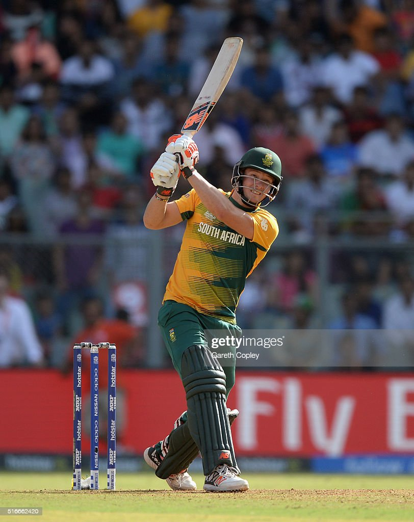 <a gi-track='captionPersonalityLinkClicked' href=/galleries/search?phrase=David+Miller+-+Cricket+Player&family=editorial&specificpeople=15061693 ng-click='$event.stopPropagation()'>David Miller</a> of South Africa hits out for six runs during the ICC World Twenty20 India 2016 Super 10s Group 1 match between South Africa and Afghanistan at Wankhede Stadium on March 20, 2016 in Mumbai, India.
