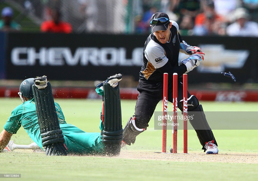 David Miller of South Africa makes his ground during the 3rd T20 International match between South Africa and New Zealand at AXXESS St Georges on December 26, 2012 in Port Elizabeth, South Africa.