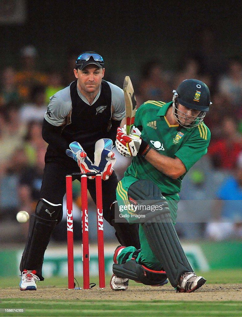 David Miller of South Africa plays to the ondife during the 2nd T20 match between South Africa and New Zealand at Buffalo Park on December 23, 2012 in East London, South Africa.