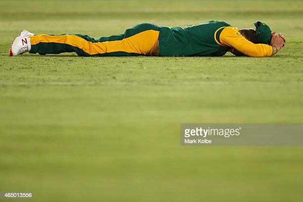 David Miller of South Africa reacts after dropping a catch during the 2015 ICC Cricket World Cup match between South Africa and Ireland at Manuka...