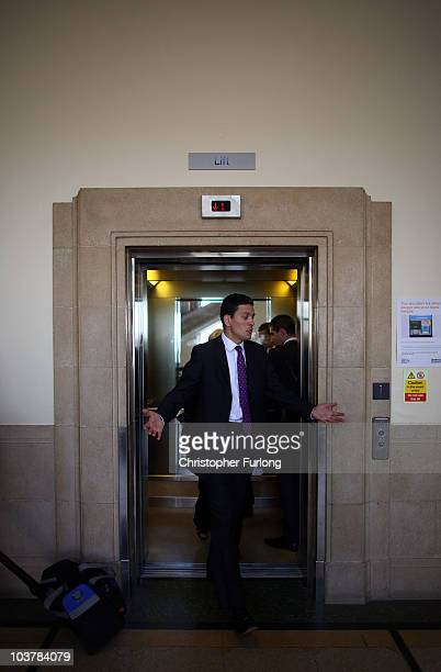 David Milliband arrives at Bolton Town Hall to address party members as part of his leadership tour of the North West on September 2 2010 in Bolton...