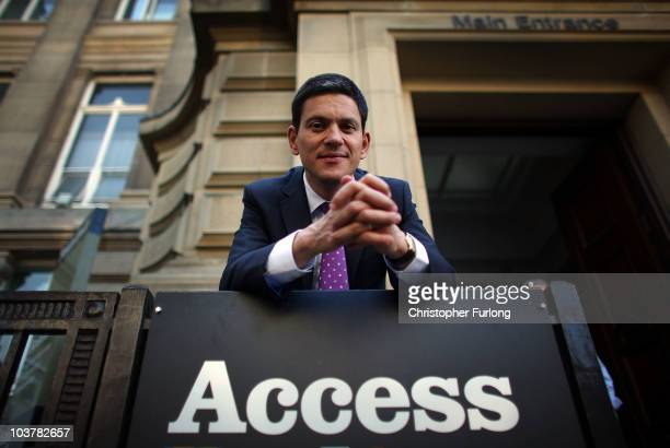 David Milliband poses for the media before he addresses party members in Bolton Town Hall as part of his leadership tour of the North West on...