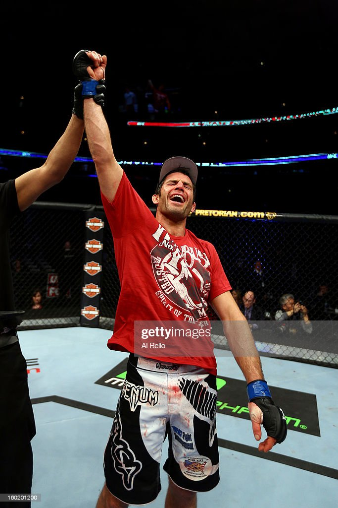 David Mitchell celebrates after defeating Simeon Thoresen during their Welterweight Bout part of Facebook Prelims at United Center on January 26, 2013 in Chicago, Illinois.