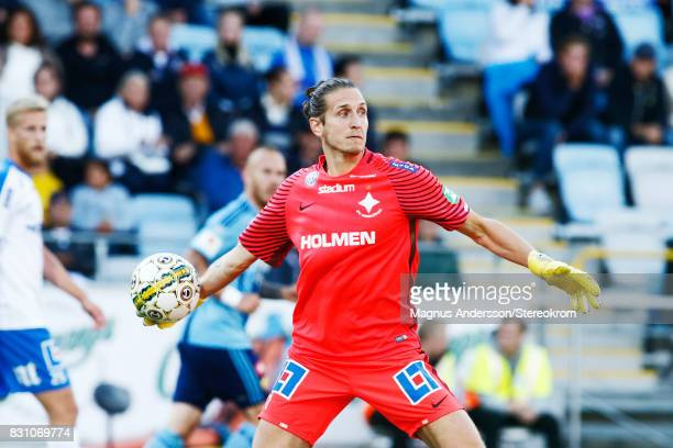 David Mitov Nilsson goalkeeper during the Allsvenskan match between IFK Norrkoping and Djurgardens IF on August 13 2017 in Norrkoping Sweden