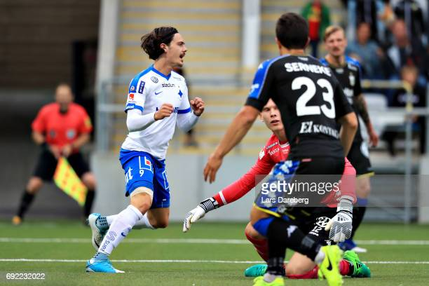 David Moberg Karlsson of IFK Norrkoping celebrate his 10 goal during the Allsvenskan match between IFK Norrkoping and IFK Goteborg on June 4 2017 at...