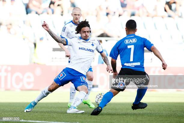 David Moberg Karlsson of IFK Norrkoping during the Allsvenskan match between IFK Norrkoping and Halmstad BK at Ostgotaporten on May 27 2017 in...