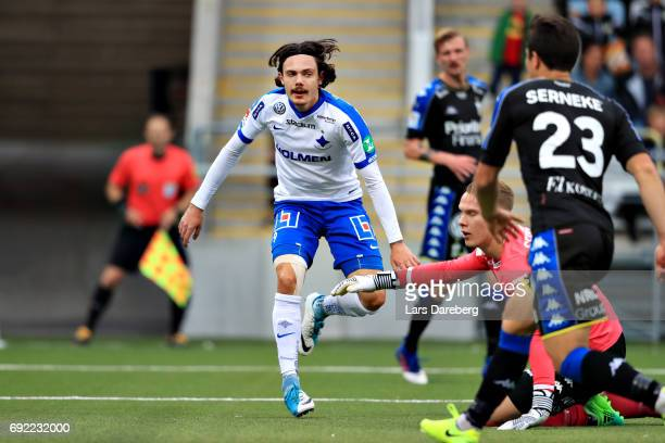 David Moberg Karlsson of IFK Norrkoping scores the 10 goal during the Allsvenskan match between IFK Norrkoping and IFK Goteborg on June 4 2017 at...
