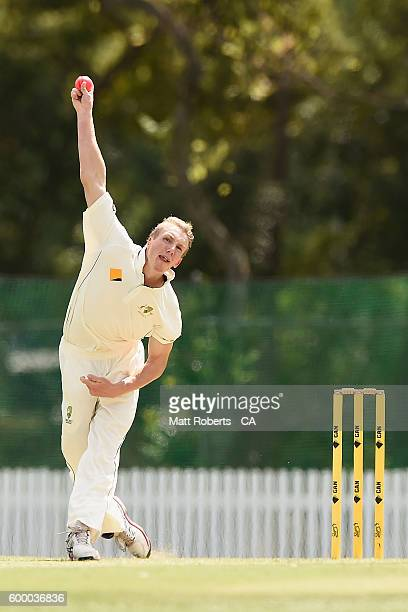 David Moody of Australia A bowls during the Cricket Australia Winter Series match between Australia A and India A at Allan Border Field on September...