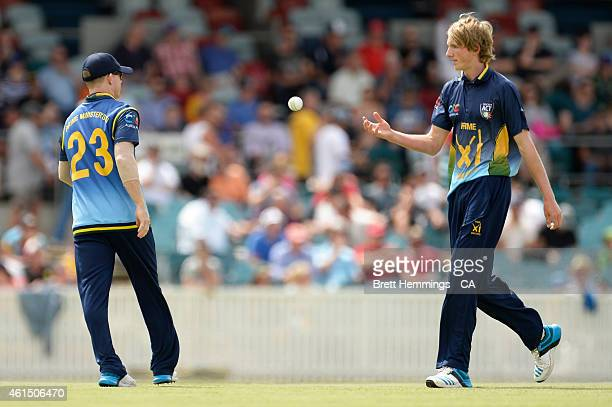 David Moody of Australia catches the ball during the tour match between the Prime Ministers XI and England at Manuka Oval on January 14 2015 in...