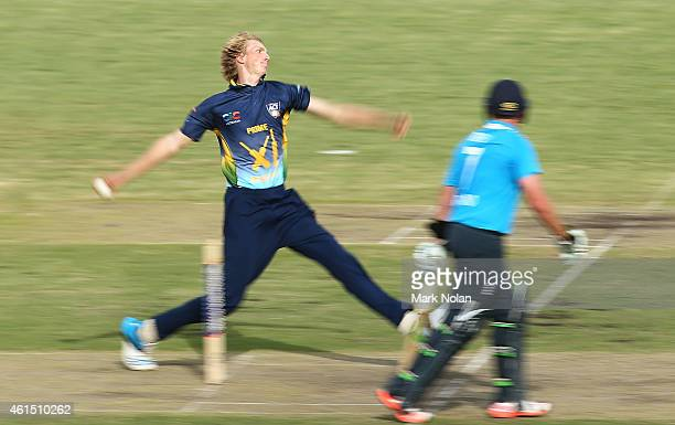 David Moody of the PMs XI bowls during the tour match between the Prime Ministers XI and England at Manuka Oval on January 14 2015 in Canberra...