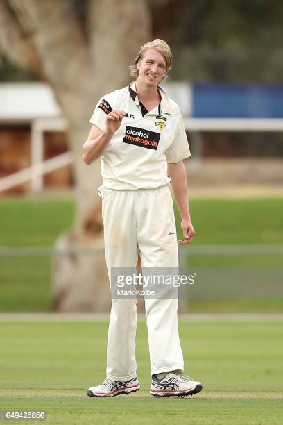 David Moody of the Warriors shows frustration during the Sheffield Shield match between Victoria and Western Australia at Traeger Park on March 8...