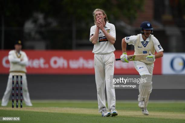 David Moody of WA reacts after being hit for a boundary during day one of the Sheffield Shield match between New South Wales and Western Australia at...
