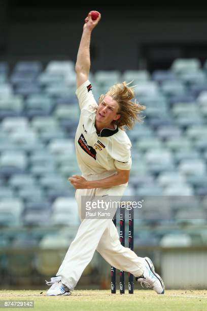 David Moody of Western Australia bowls during day four of the Sheffield Shield match between Western Australia and South Australia at WACA on...