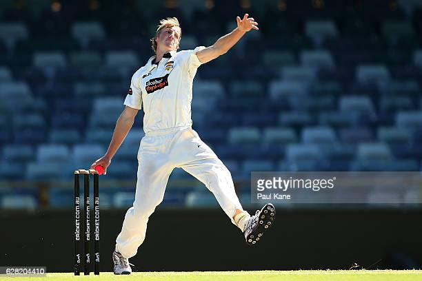 David Moody of Western Australia bowls during day three of the Sheffield Shield match between Western Australia and Queensland at WACA on December 7...