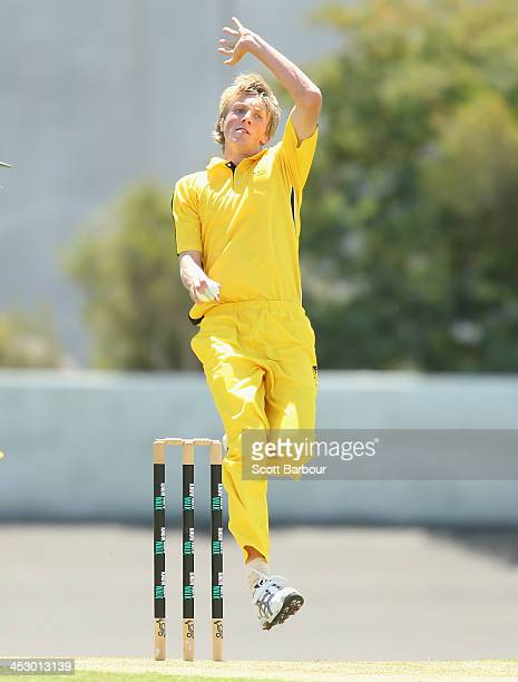 David Moody of Western Australia bowls during the U19 Championship match between Western Australia and Tasmania at New Town Oval on December 2 2013...